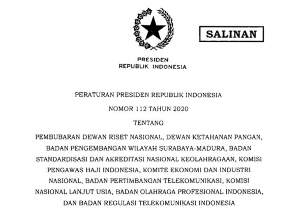 Pemerintah Bubarkan 10 Lembaga Nonstruktural Untuk Efektifitas dan Efisiensi