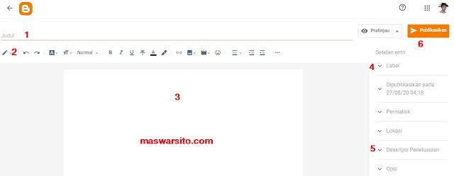 Cara Memposting Artikel di Blogger Lewat PC/ HP Untuk Pemula