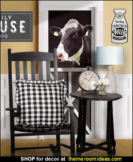 modern farmhouse home decor modern farmhouse gingham pillows cow mural farmhouse wall art