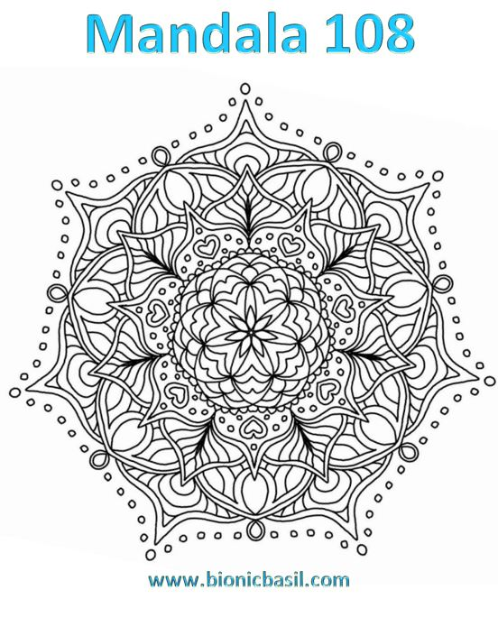 Mandalas on Monday ©BionicBasil® Colouring With Cats Mandala #108 Downloadable Image