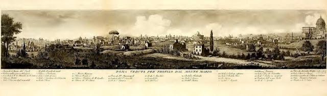Roma veduta per profilo dal Monte Mario - Incisione di Giovanni Battista Cipriani