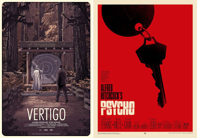 Mondo - Alfred Hitchcock's Vertigo Movie Poster Screen Print by Matthew Woodson & Psycho by Phantom City Creative