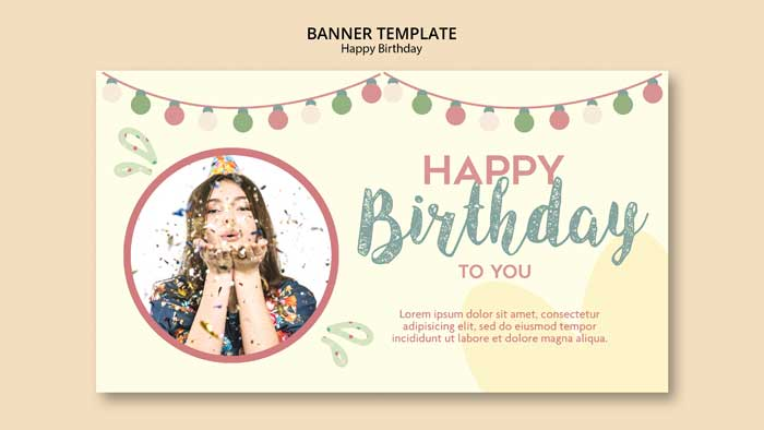 Birthday Party Banner Template With Photo