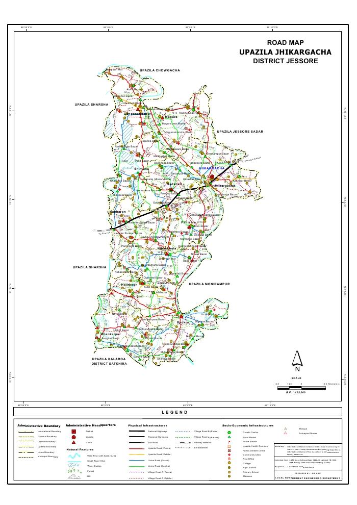 Jhikargacha Upazila Road Map Jessore District Bangladesh