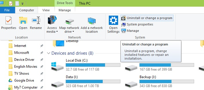 How to find legacy application uninstall option after latest Windows 10 update