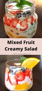 Tasty Creamy Fruit Salad made with just 9 ingredients: Orange, Banana, Blueberries, Strawberries, Grapes, Sugar, Fruit Loops, Sour Cream and Mint. This is not a typical salad, truth is it's more of a Fruit Dessert than a Fruit Salad or maybe its both. Yup Creamy Fruit Dessert / Creamy Fruit Salad.