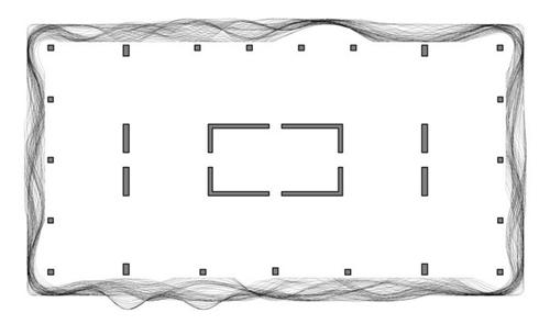 plano de planta tipo de la Aqua Tower de Chicago con la distribución de pilares y contornos de prolongación de la fachada ondulante