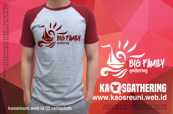 Big Family Gathering Raglan - Kaos Family Gathering - Kaos Employe Gathering