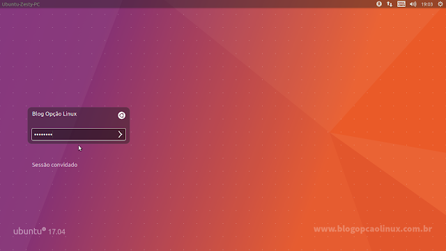 Tela de login do Ubuntu 17.04 (Unity)
