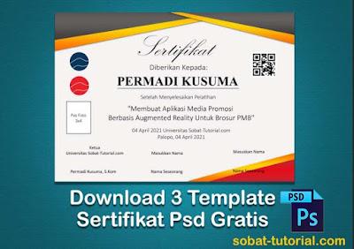 Free 3 Desain Template Sertifikat & Piagam Gratis Format Psd