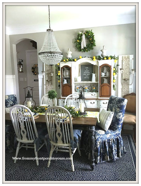 Late -Summer- Dining- Room -Decor-French-Country-Farmhouse-Lemons-Ballad-Bouquet-Blue-White-Decor-From My Front Porch To Yours