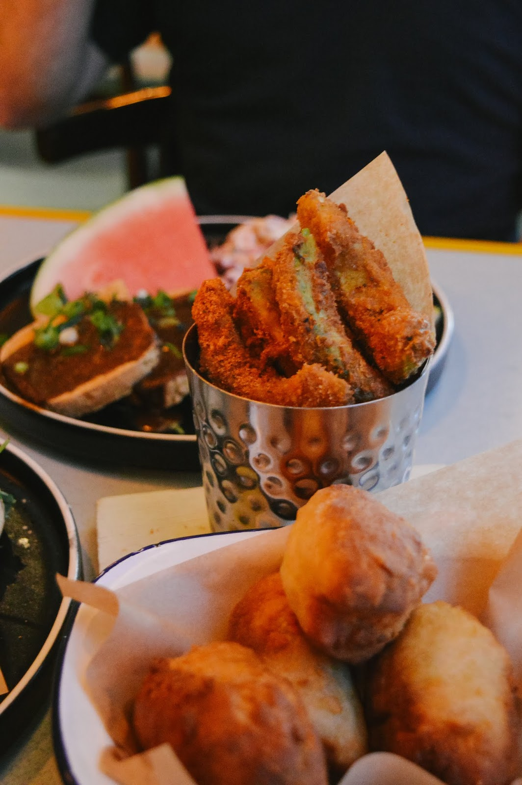 Avocado fries and Caribbean dumplings at Turtle Bay in Winchester