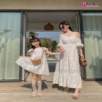 Váy maxi mẹ và bé gái M512