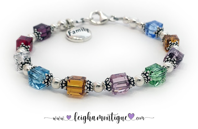 Family Charm Birthstone Bracelet for Mom or Grandma