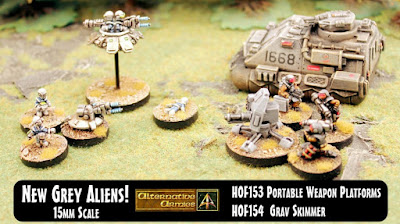 New 15mm Grey Aliens grav skimmer and portable weapon platforms