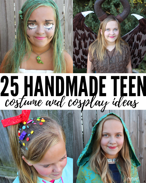 Handmade teen cosplay and costumes featuring Vanellope Von Schweetz, Belle from Once Upon a Time, The Corpse Bride complete with Maggot and Maleficent as a young girl.