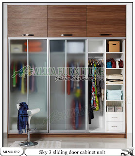 Lemari minimalis tipe unit cabinet sky sliding