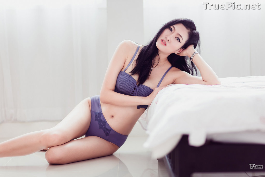 Image Thailand Model - Sawinee Boonbunlu - Sexy Blue Purple Lingerie - TruePic.net - Picture-9