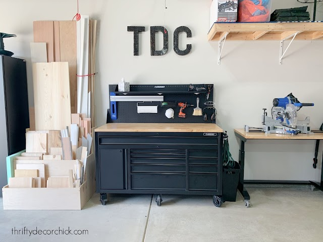 tool and wood storage in garage