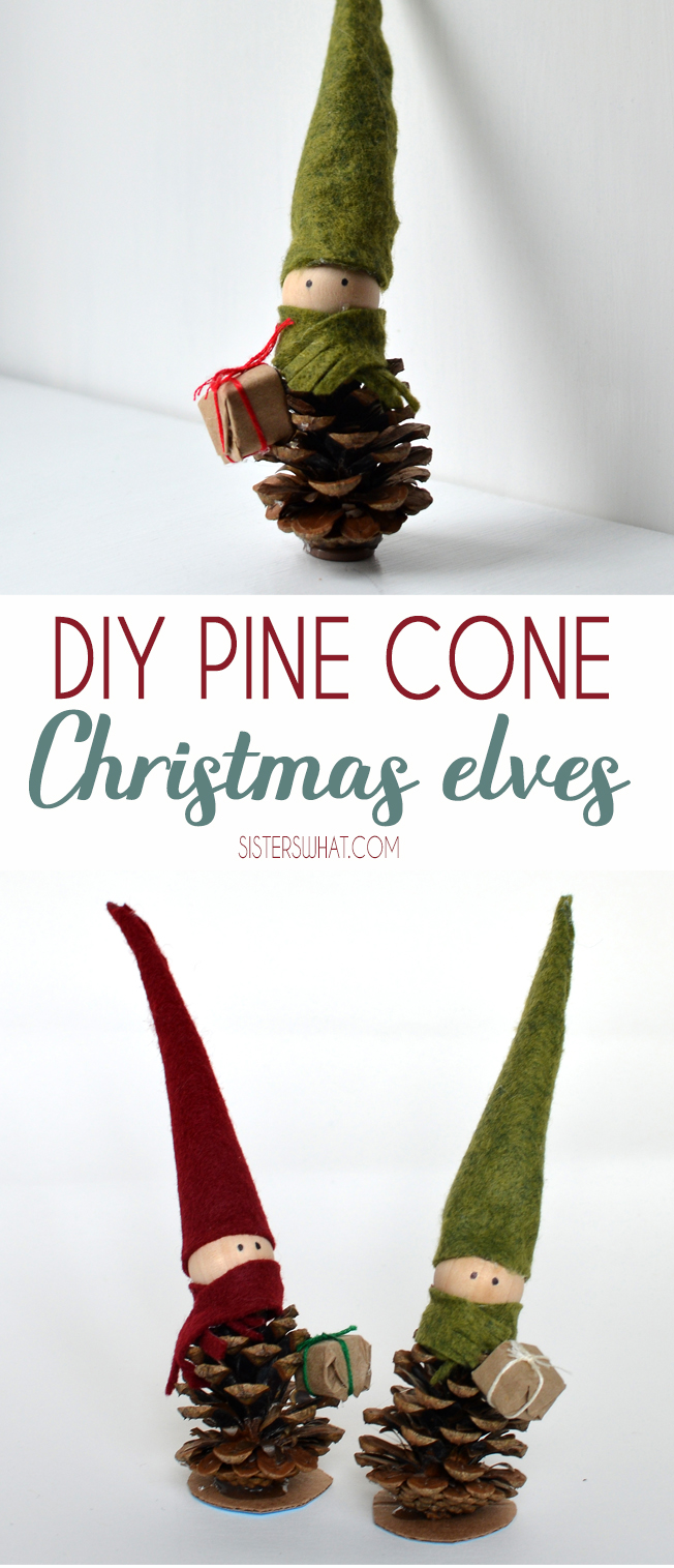 DIY Christmas Elves out of pine cones perfect Christmas decoration