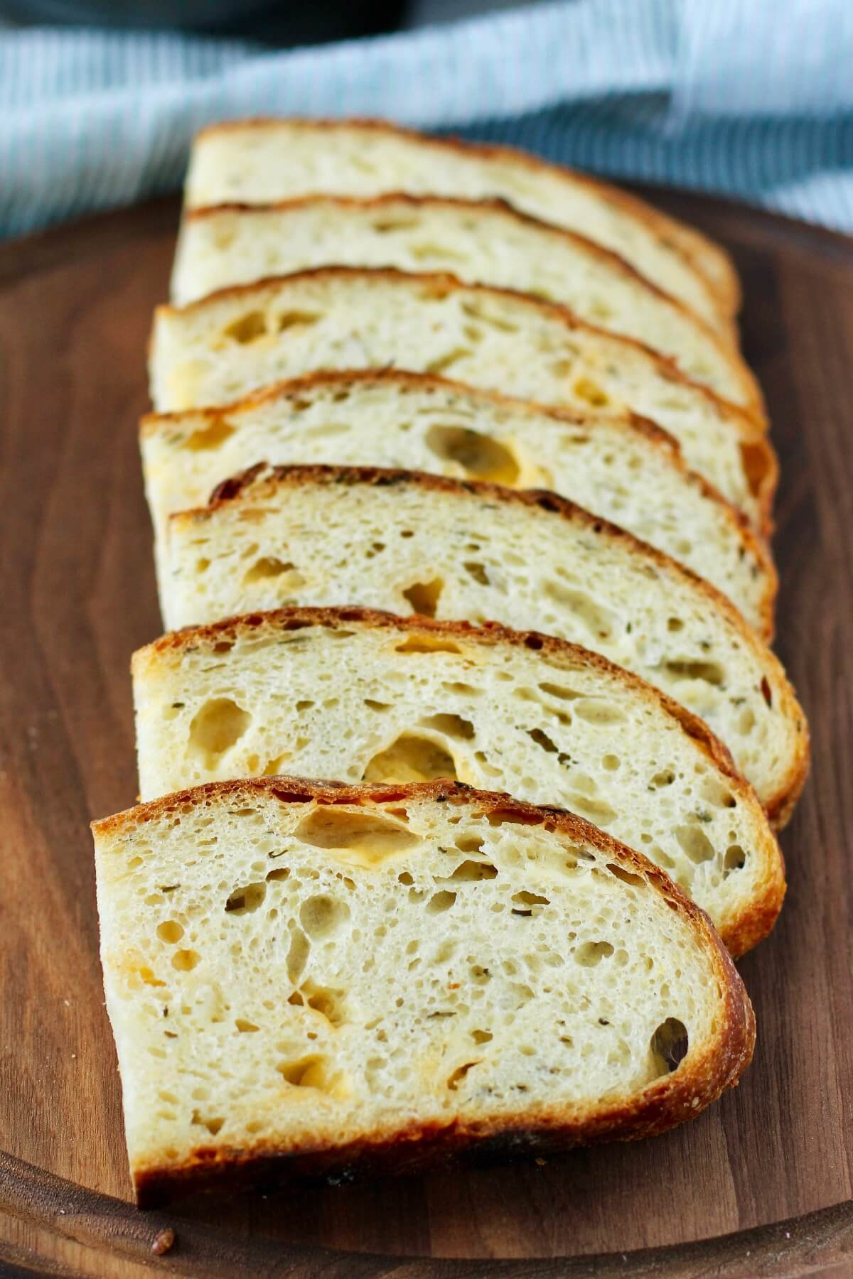 Cheddar Chive Sourdough Bread slices