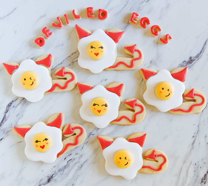 deviled egg decorated cookies, so cute for halloween! | tutorial from bakeat350.net