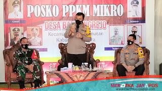 Kroscek Personel Kapolda Jateng Tinjau Posko PPKM Mikro Desa Bandungrejo Jepara