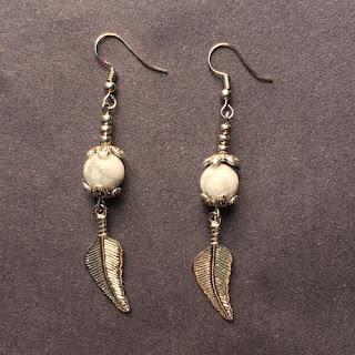 Howlite Bead Dangle Earrings