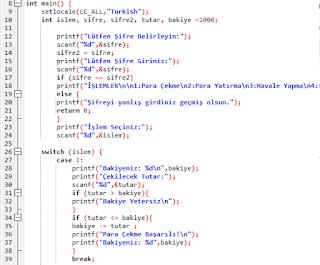 C++ Dilinde Basit Bankamatik Otomasyonu