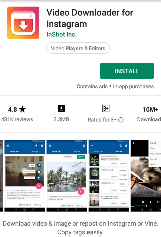 download videos from instagram android
