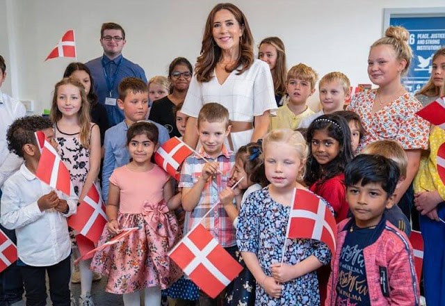 Crown Princess Mary wore a checkered dress from Morten Ussing, Max Mara belt Dulong Delphis large gold earrings, Elhanati Abyss gold necklace