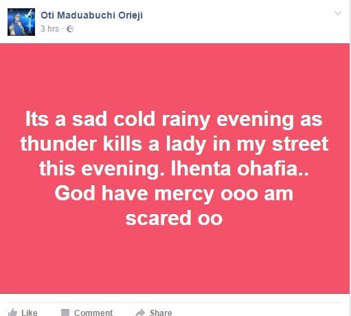 Thunder strikes woman to death in Imo State, Facebook user claims