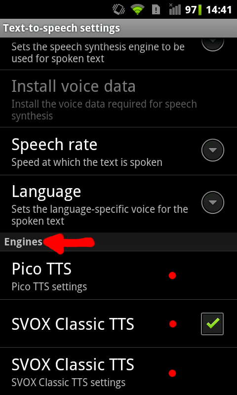 Changing Android Text-to-Speech (TTS) Engine (and other hints)