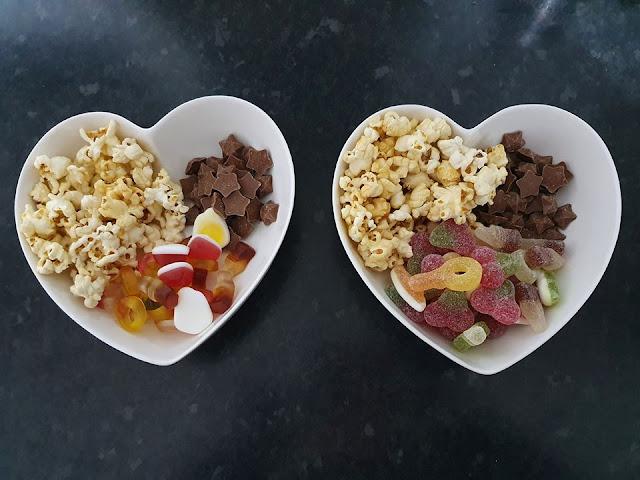 Popcorn, Magic Stars & Haribo in a heart shaped bowl.