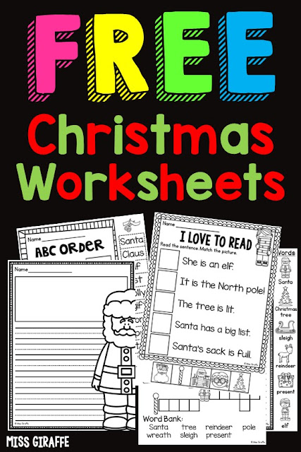 Free Christmas Worksheets for first grade! Easy and cute reading and writing printables kids can do in December!