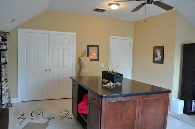 Office, craft room, Benjamin Moore Balboa Mist, gardening, sewing and crafts, diyDesignFanatic.com