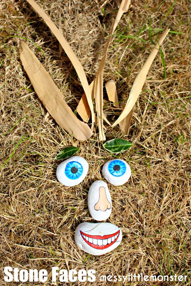 An easy stone / rock / pebble craft for kids.  Make funny faces using these FREE PRINTABLE face parts.  A perfect outdoor activity using nature for summer. A fun 'ourselves' or 'all about me' project.