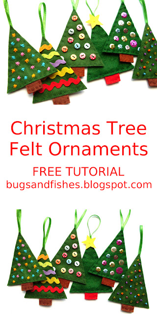 felt Christmas tree ornaments tutorial