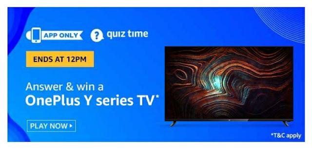 Amazon Quiz answer and win Oneplus Y Series TV