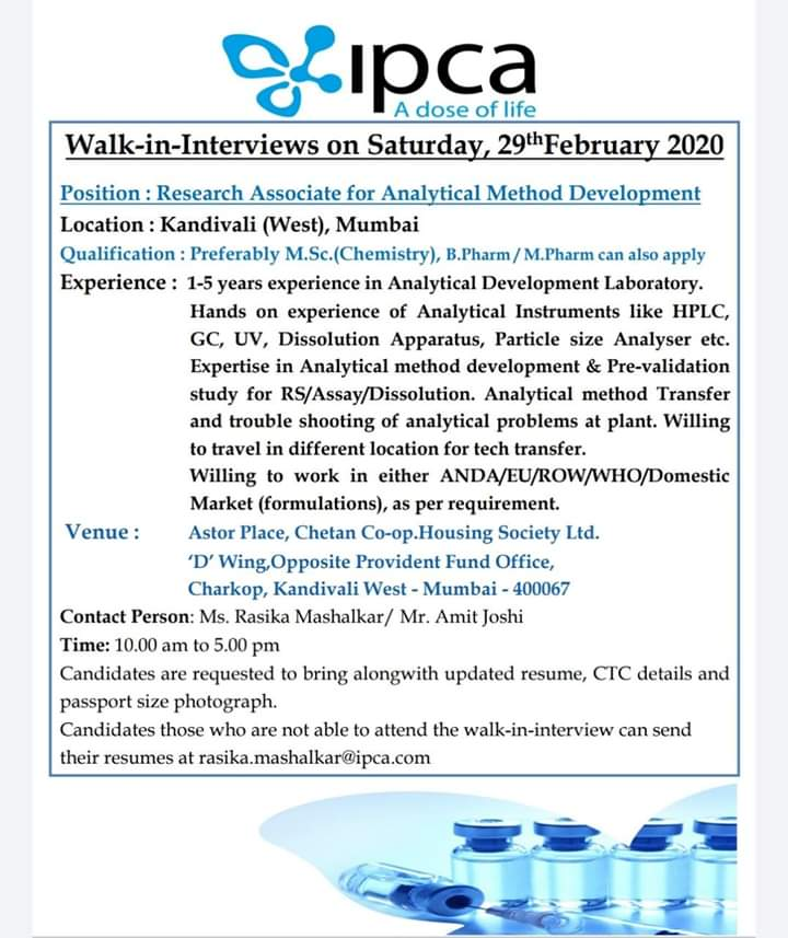 Ipca Laboratories - Walk-In Interviews for Analytical Method Development on 29th Feb' 2020