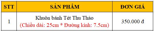 Bang gia khuon banh Tet Thu Thao