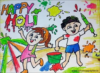 holi celebration drawing easy