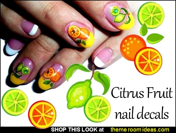Lemon lime nail decals nail art Pineapple Orange Nails Art Stickers citrus fruit nails