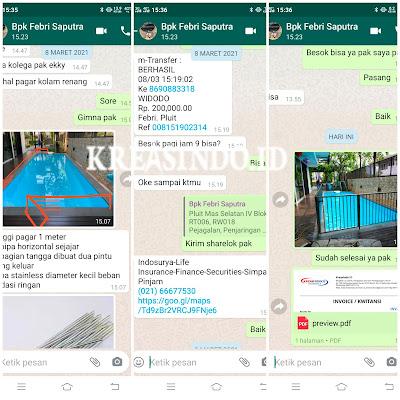 Pagar Kolam Renang Stainless pesanan Bpk Febri pemilik Indosurya Life Pluit Mas Jakarta