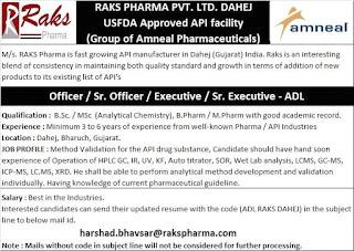 B.Sc, M.Sc, B.Pharm, M.Pharm Jobs Vacancy For Officer / Sr. Officer / Executive / Sr. Executive in RAKS Pharma Pvt. Ltd.