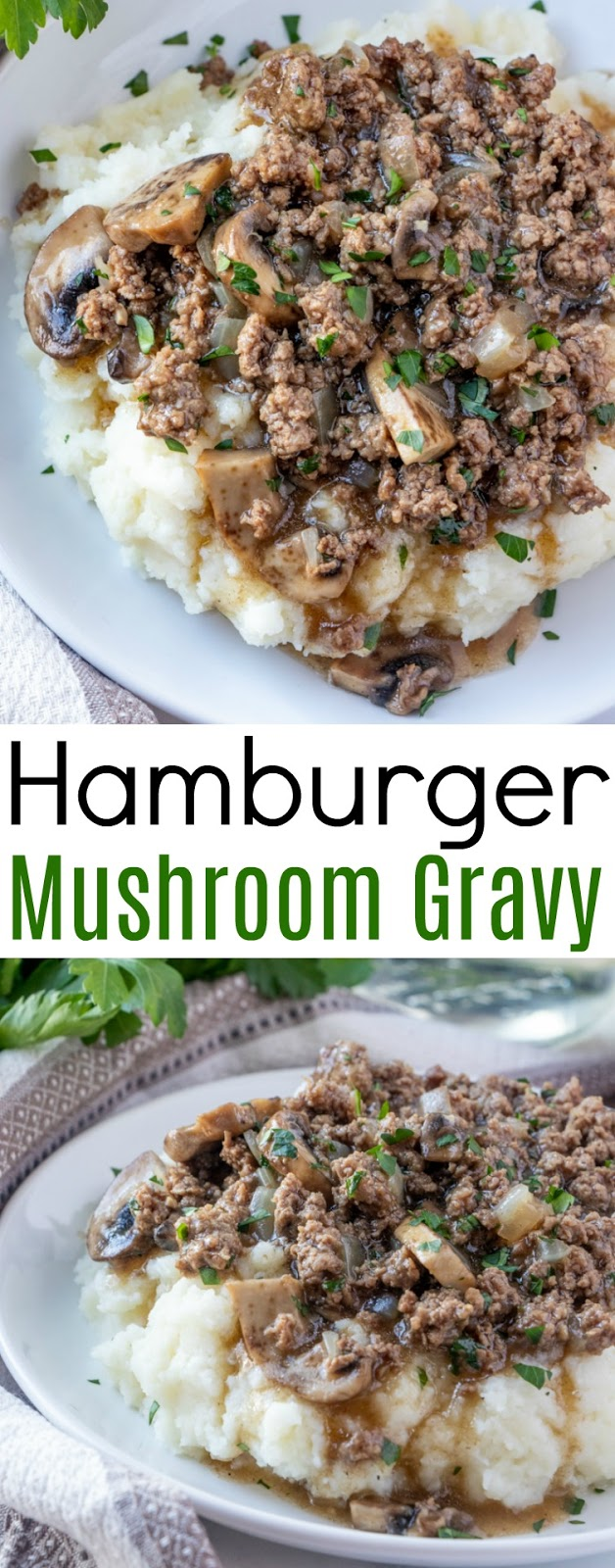 This meat and potatoes comfort food just like grandma used to make is the perfect easy dinner idea! Ready in less than 30 minutes and great served over mashed potatoes, baked potatoes, cooked rice or egg noodles! The mushrooms, onion and garlic add so much delicious flavor!