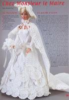 Vestido de Noiva Para Barbie  Crochê com gráfico