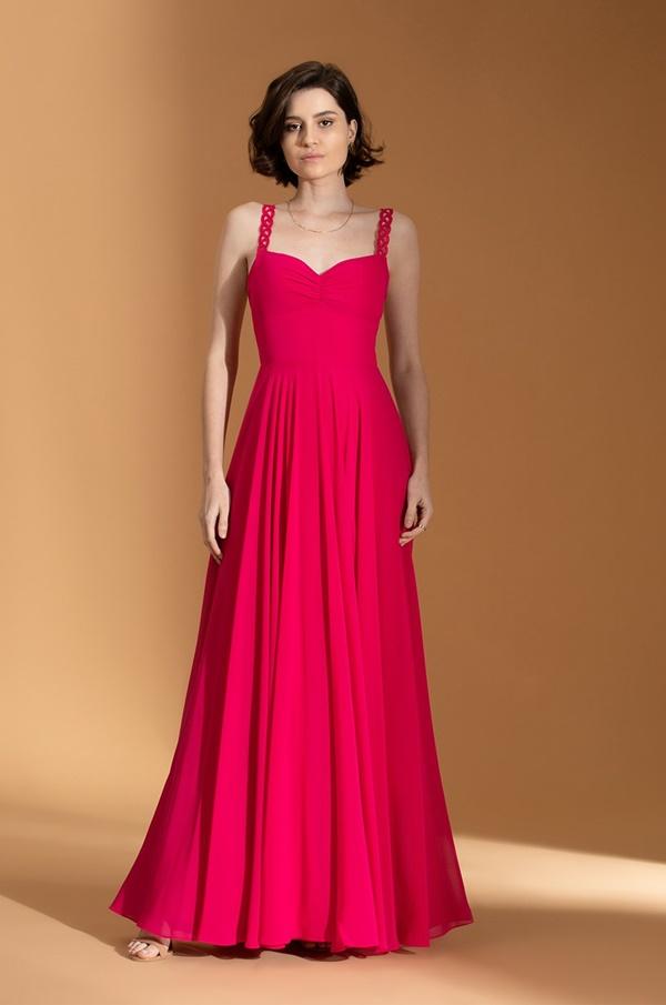 vestido longo fúcsia para madrinha de casamento dia