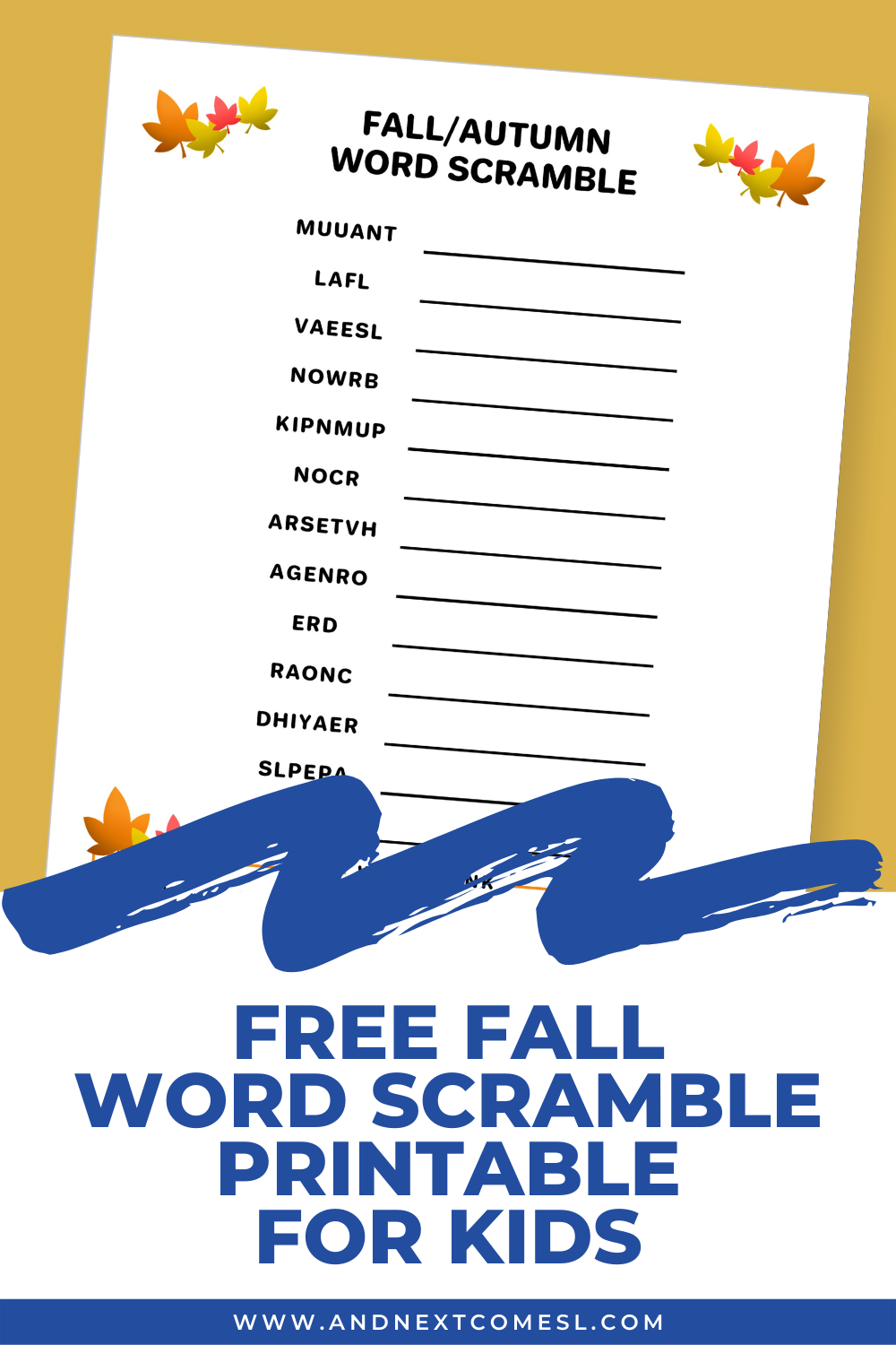 Free printable fall word scramble game for kids (with answers!)