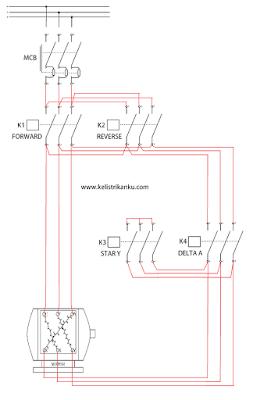 Membuat Rangkaian kontrol Motor listrik 3 fasa dua arah putaran star delta